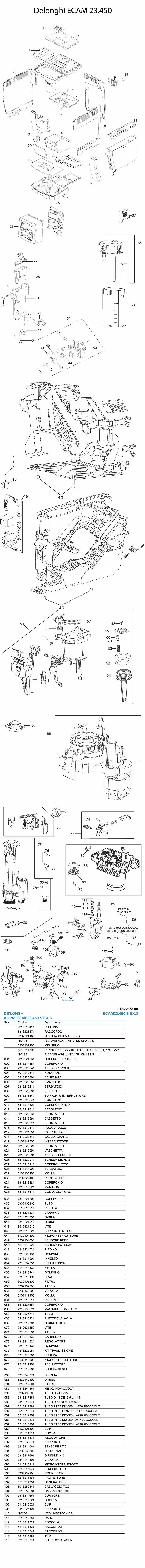 Delonghi Magnifica Parts Diagram Delonghi Ecam 23 450 Spare Parts Of Delonghi Magnifica Parts Diagram