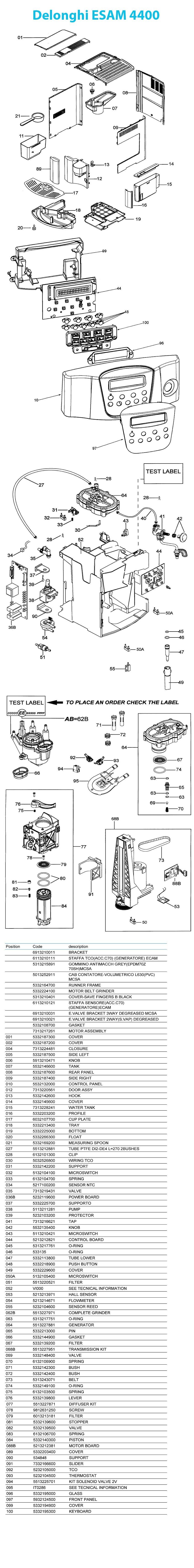 Delonghi Magnifica Parts Diagram Delonghi Esam 4400 Pare Parts Of Delonghi Magnifica Parts Diagram