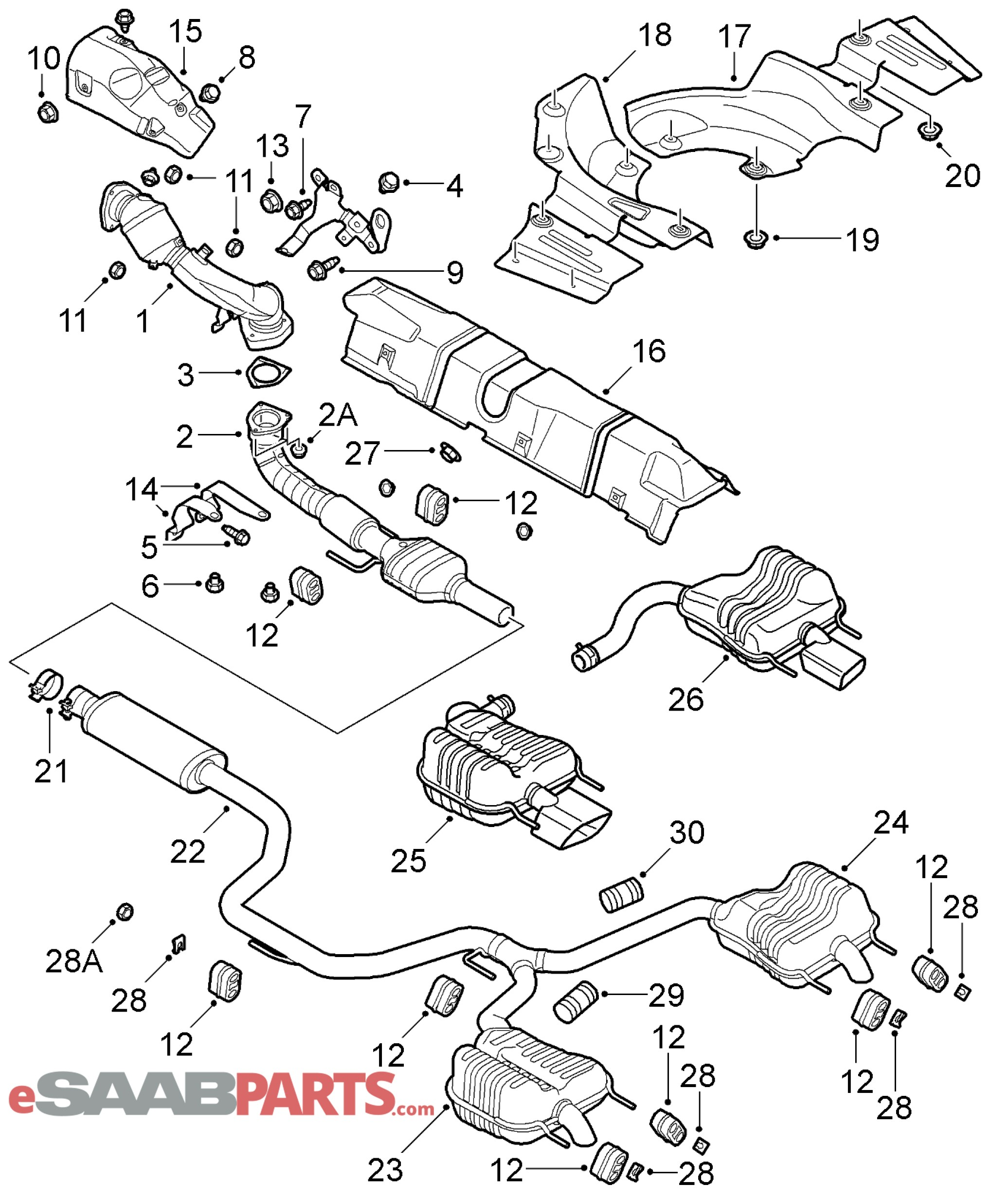 Exhaust System Parts Diagram Esaabparts Saab 9 3 9440 Engine Parts Exhaust System Of Exhaust System Parts Diagram Chev Gmc