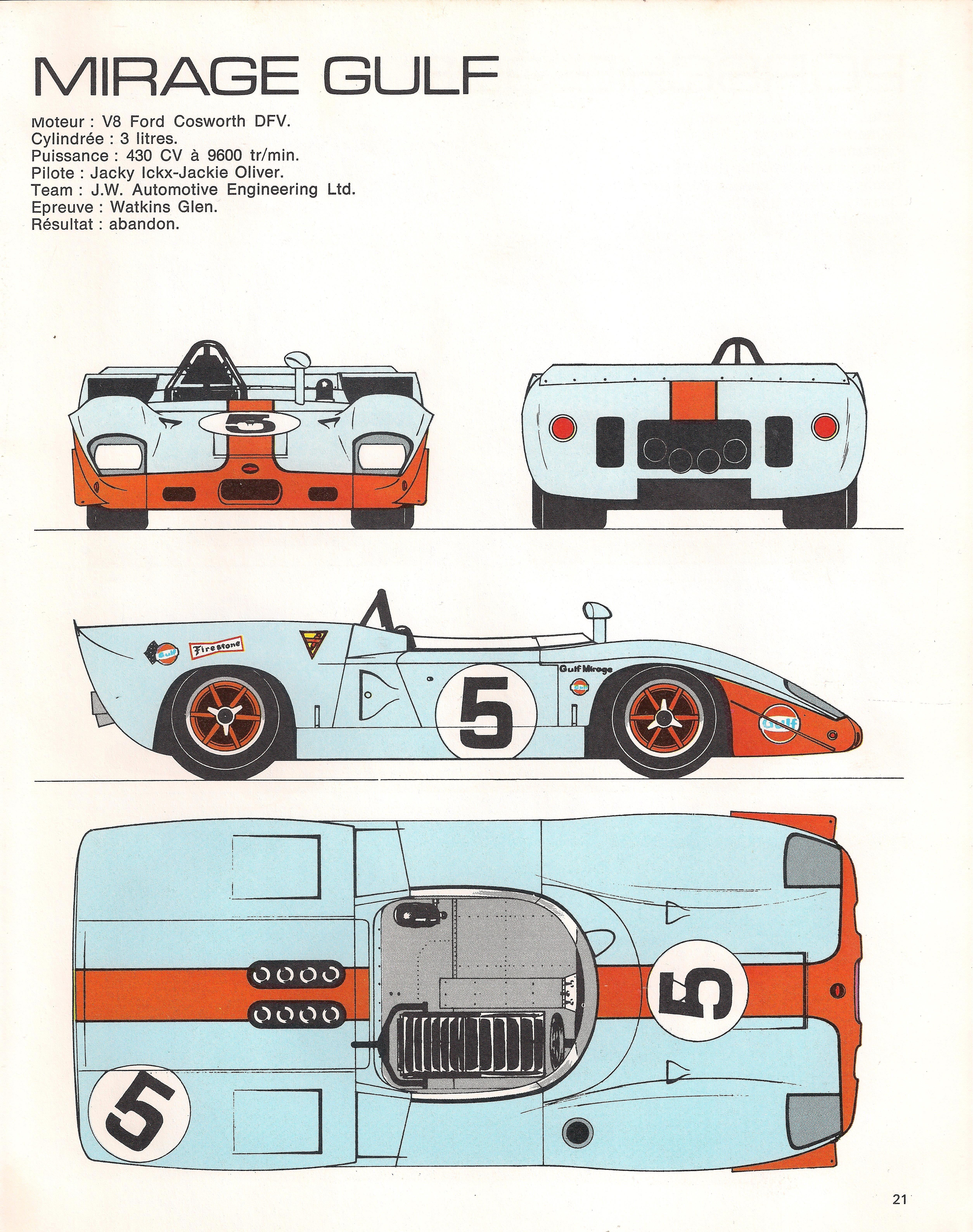 F1 Car Diagram Mirage Gulf M1 1969 Racing Cars In Profile Of F1 Car Diagram