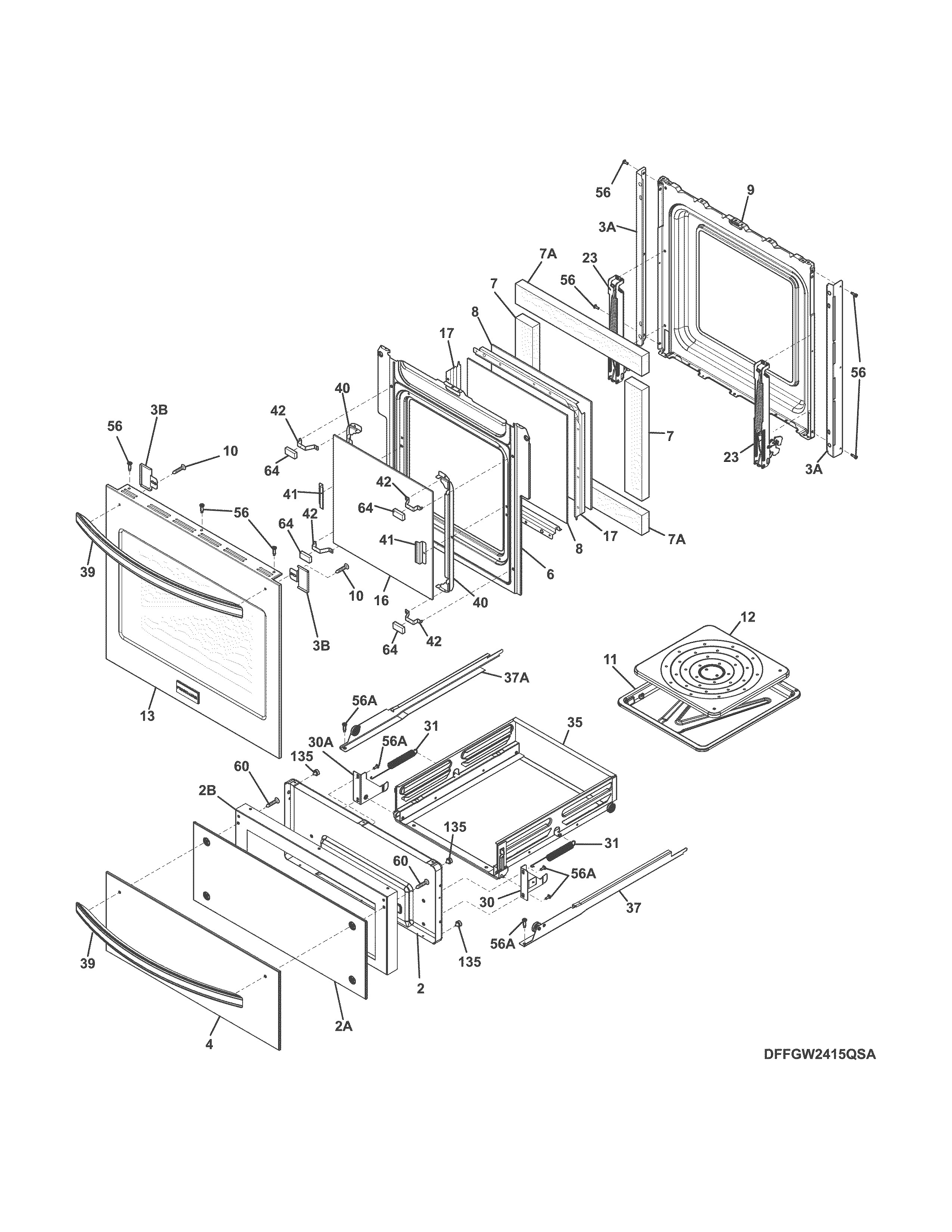 Frigidaire Stove Parts Diagram Looking for Frigidaire Model Ffgw2415qsa Gas Wall Oven Repair Of Frigidaire Stove Parts Diagram Frigidaire Door Parts & 03 Freezer Door Parts for Frigidaire