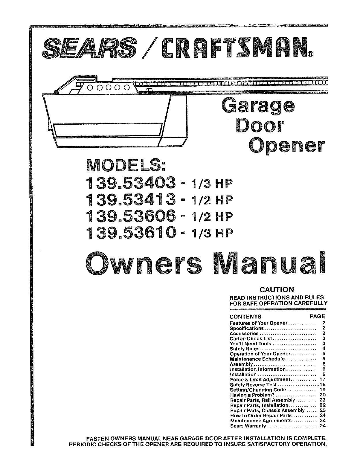 Garage Door Opener Parts Diagram Craftsman Garage Door Opener 139 User Guide Of Garage Door Opener Parts Diagram