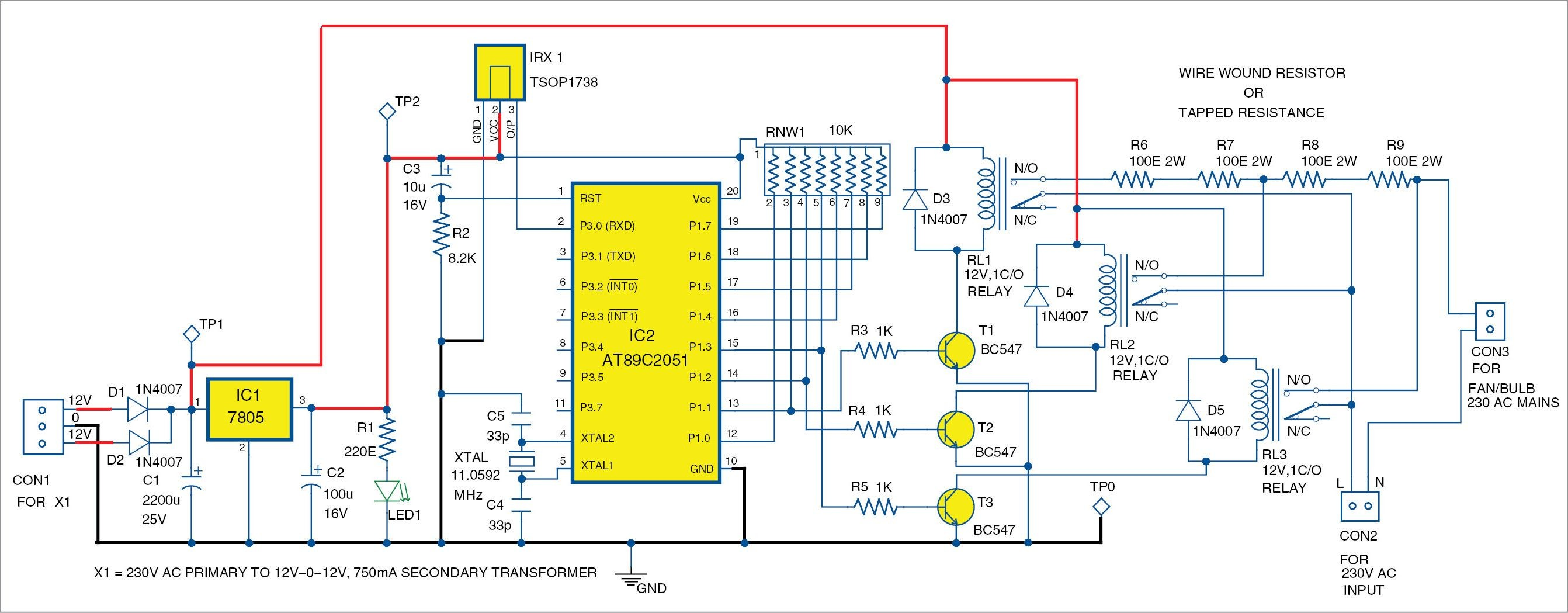 Remote Car Circuit Diagram Remote Controlled Smartfan Using at89c2051 Diy Of Remote Car Circuit Diagram