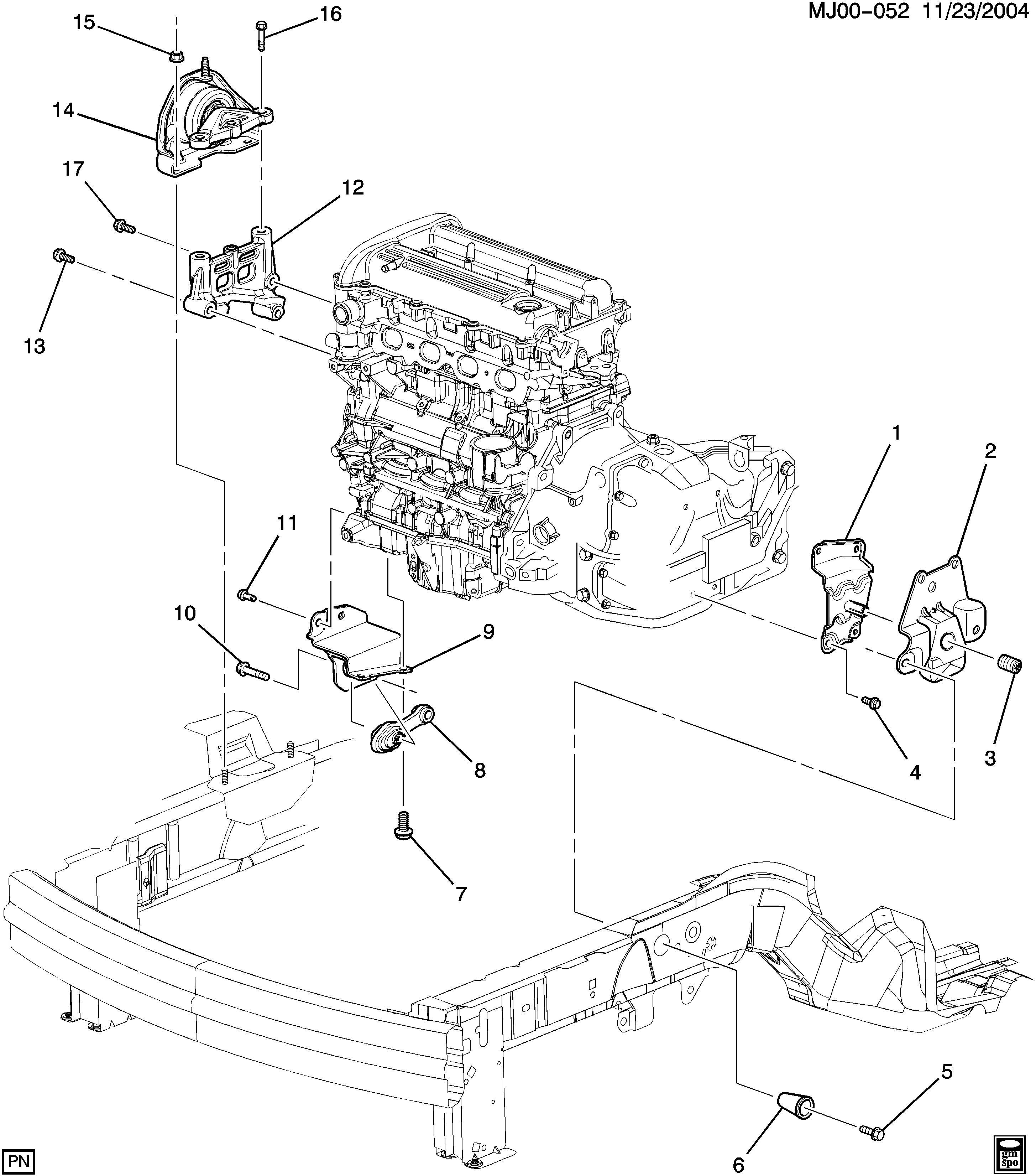2002 Chevy Cavalier Engine Diagram Cavalier Engine & Transmission Mounting L4 Chevrolet Epc Of 2002 Chevy Cavalier Engine Diagram