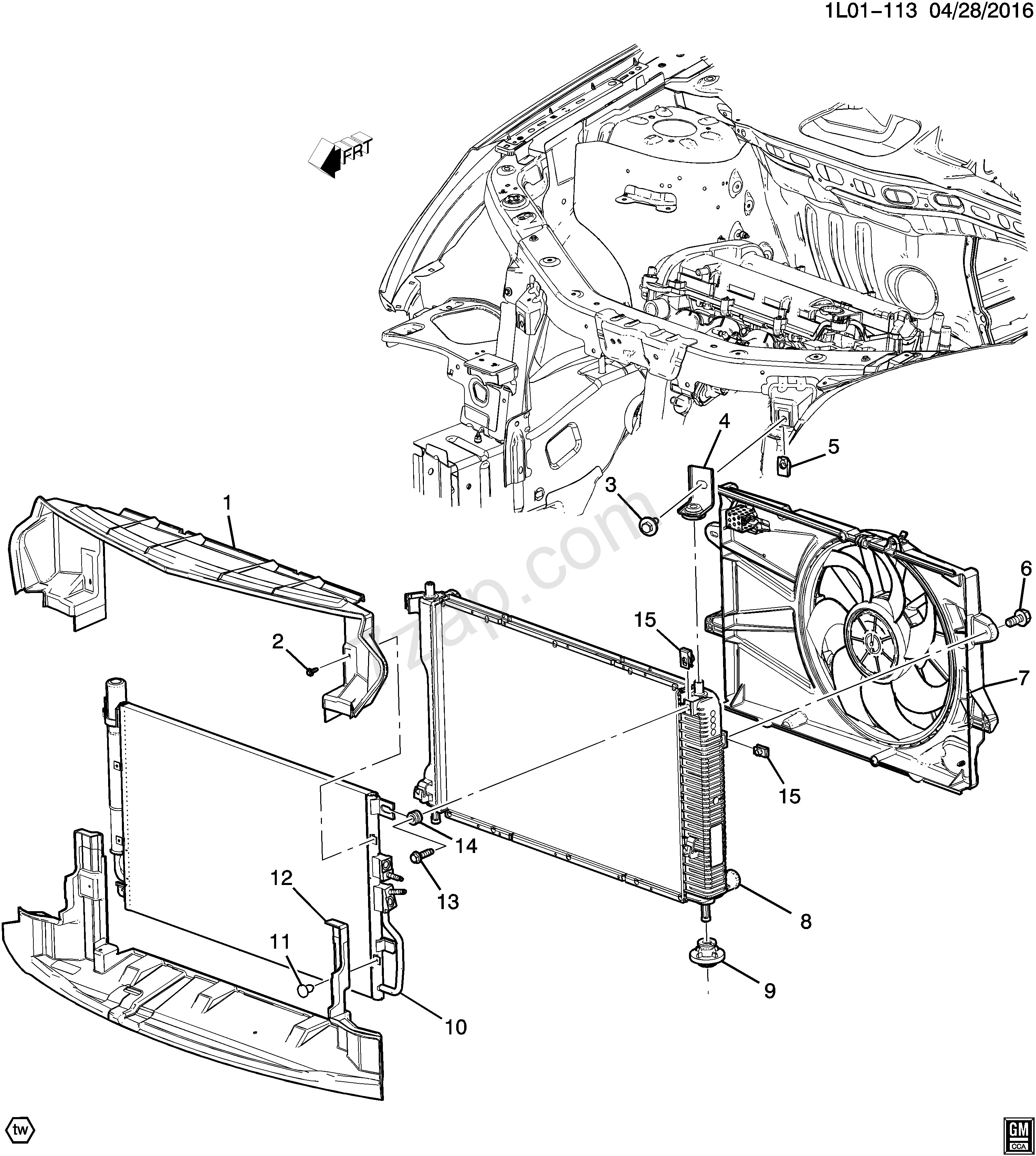 Chevy Oem Parts Diagram 2016 2017 Lf Lh Lj Radiator Mounting & Related Parts