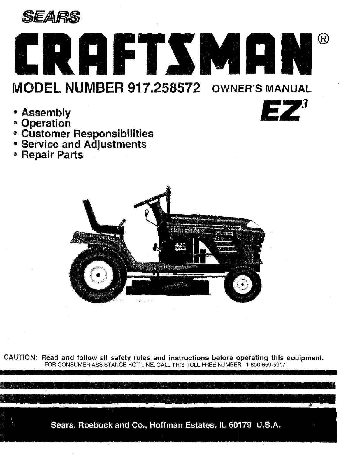 Craftsman Tractor Parts Diagram Craftsman User Manual Tractor Manuals and Guides Of Craftsman Tractor Parts Diagram