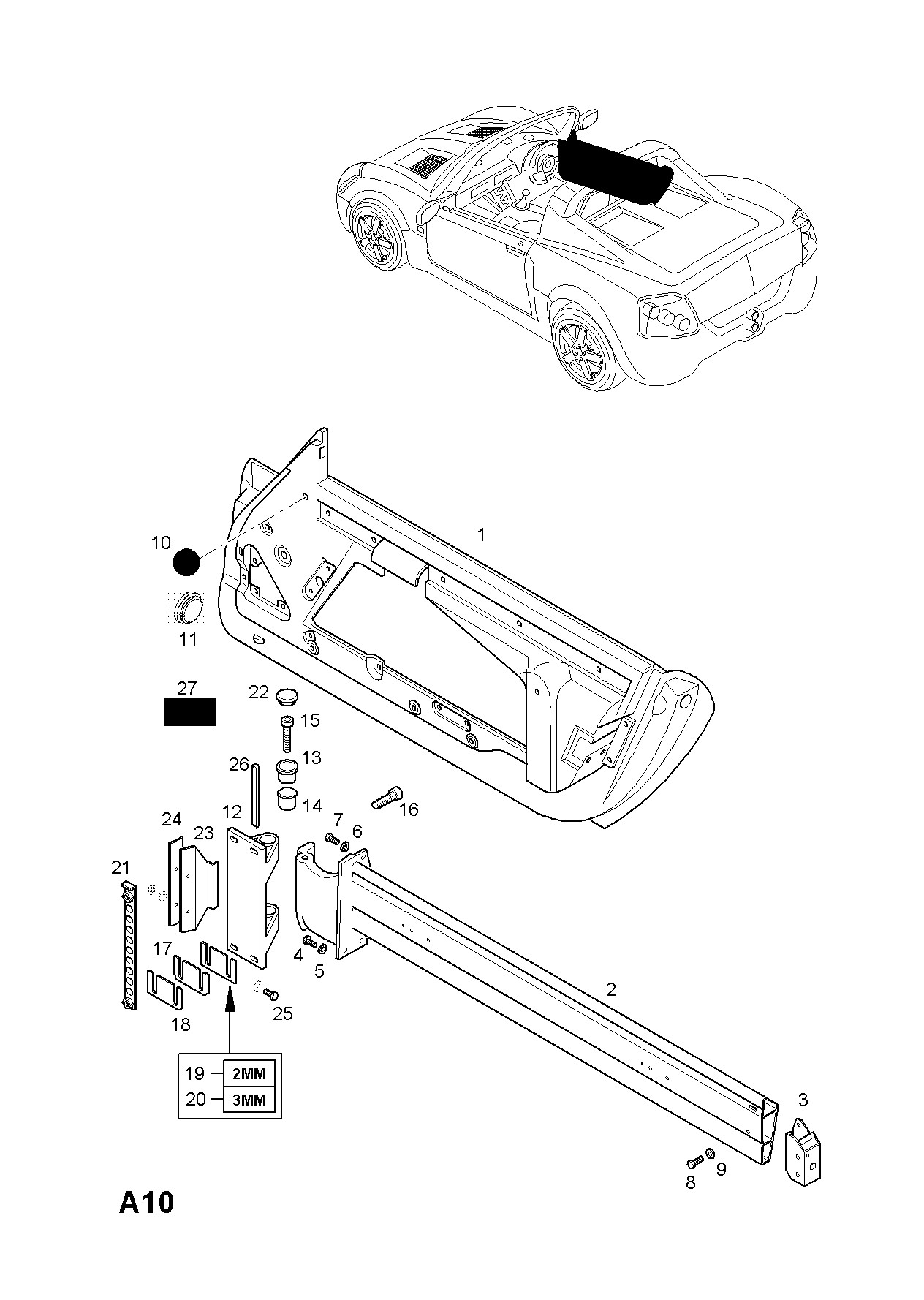 Parts Of A Car Body Diagram Opel Speedster 2001 2004 A Body Shell and Panels 5 Of Parts Of A Car Body Diagram