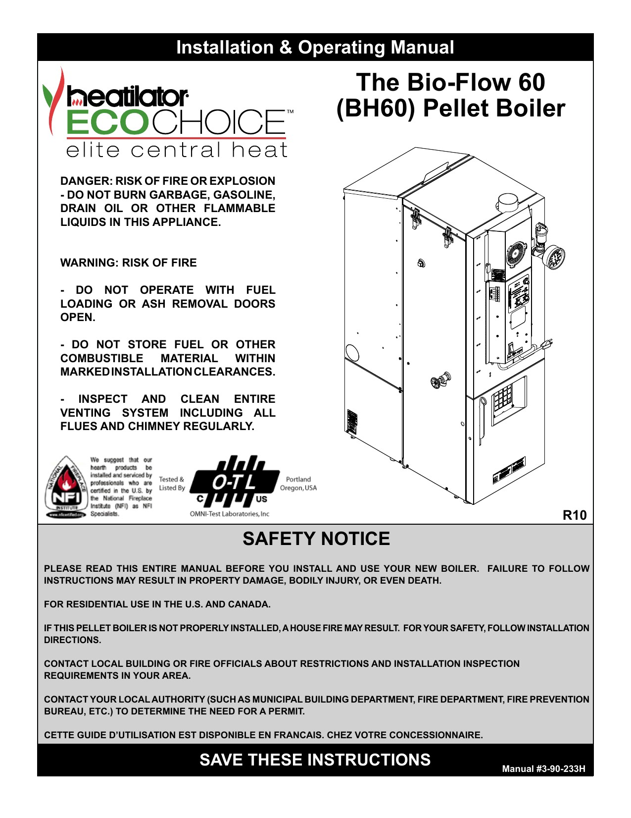 Heatiator Boiler BH60 User manual
