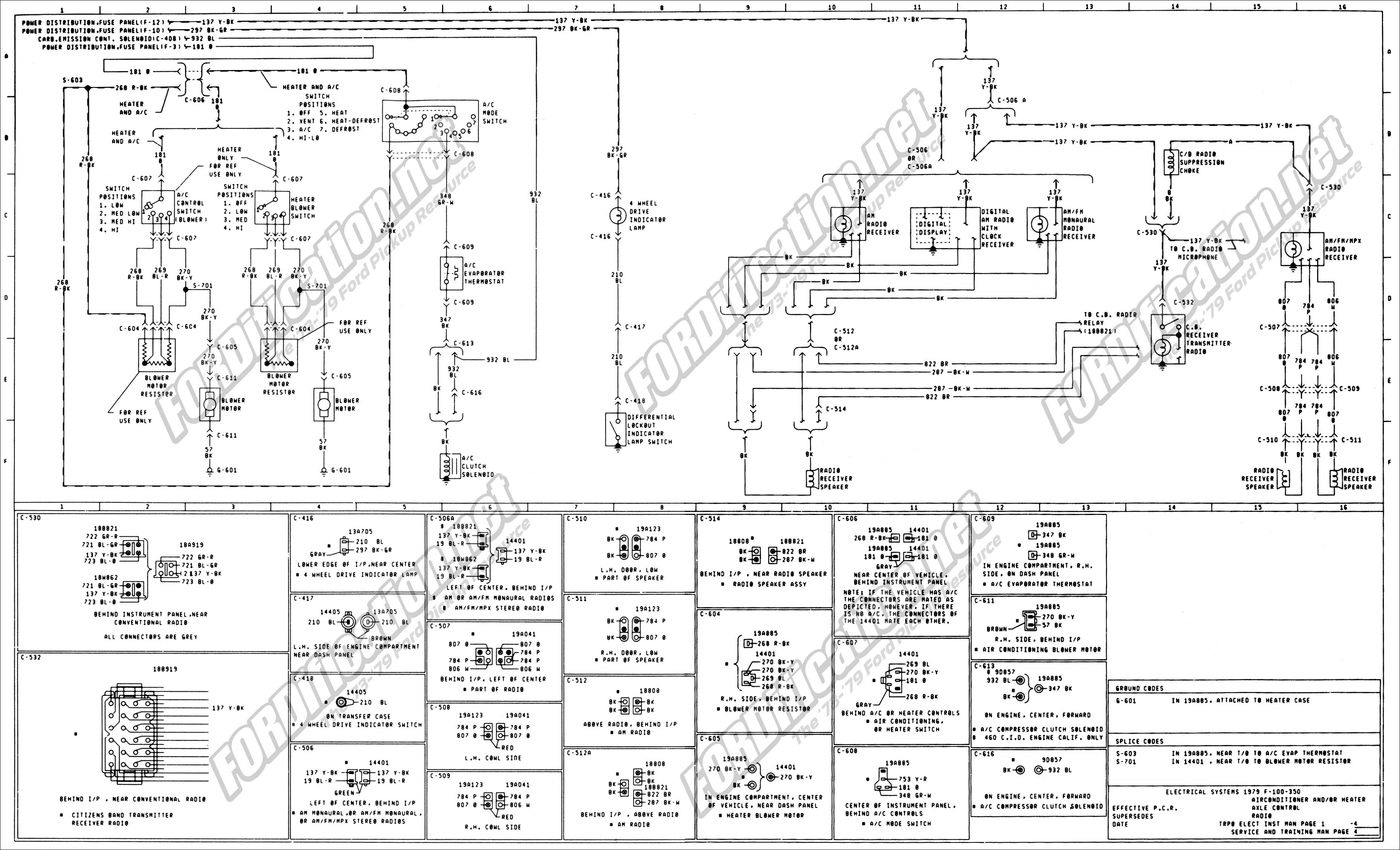 06 F250 Mirror Switch Wiring 1973 1979 ford Truck Wiring Diagrams & Schematics Of 06 F250 Mirror Switch Wiring