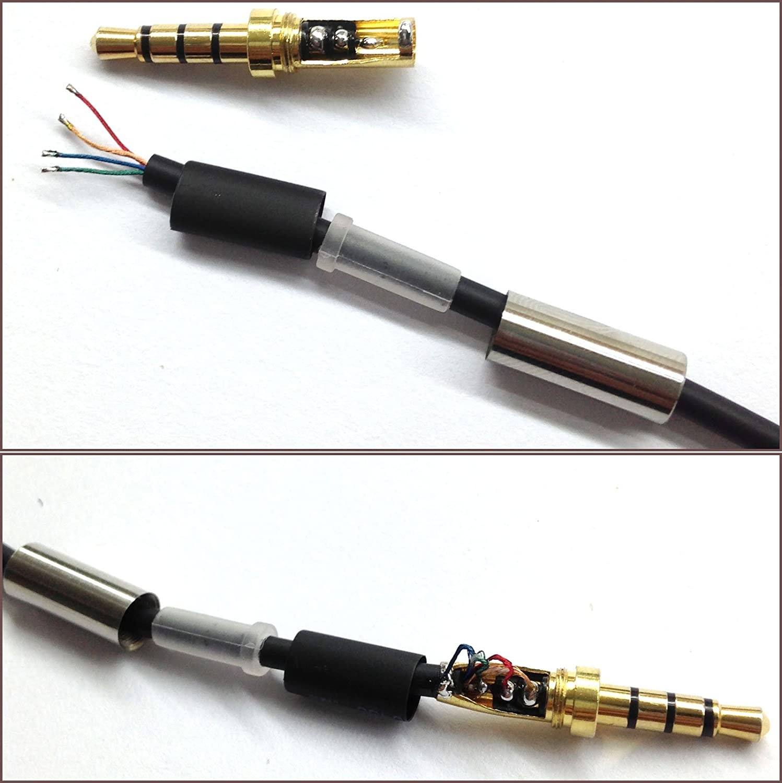 How to Wire A Four Pole Headphone Jack Gold 4 Pole 3 5mm Male Repair Headphone Jack Plug Metal Audio soldering & Spring Of How to Wire A Four Pole Headphone Jack