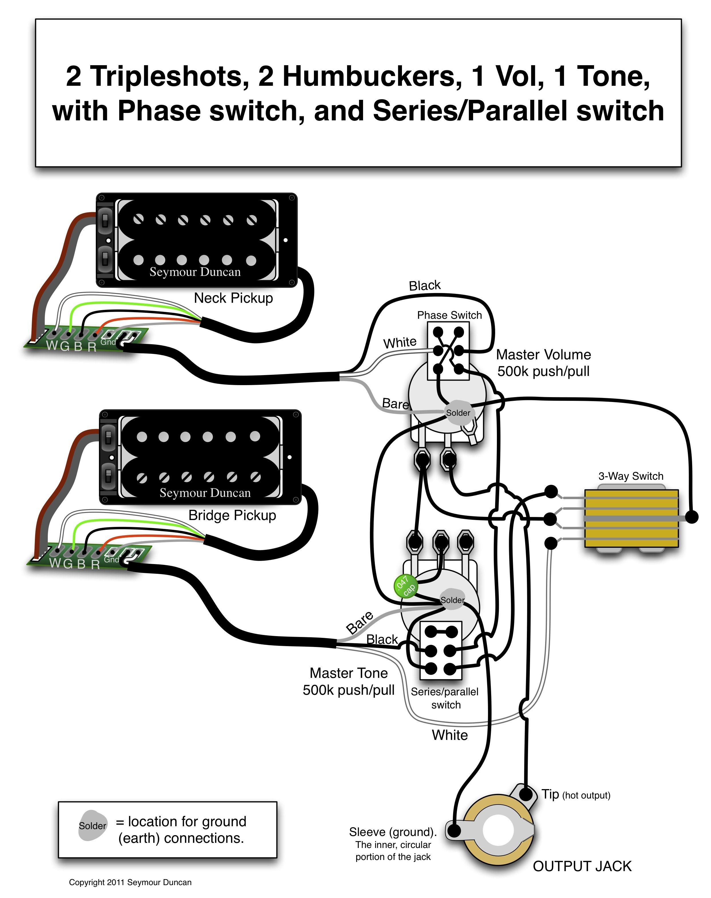 Humbucker Single Humbucker Pickup Wiring Seymour Duncan Wiring Diagram 2 Triple Shots 2 Humbuckers