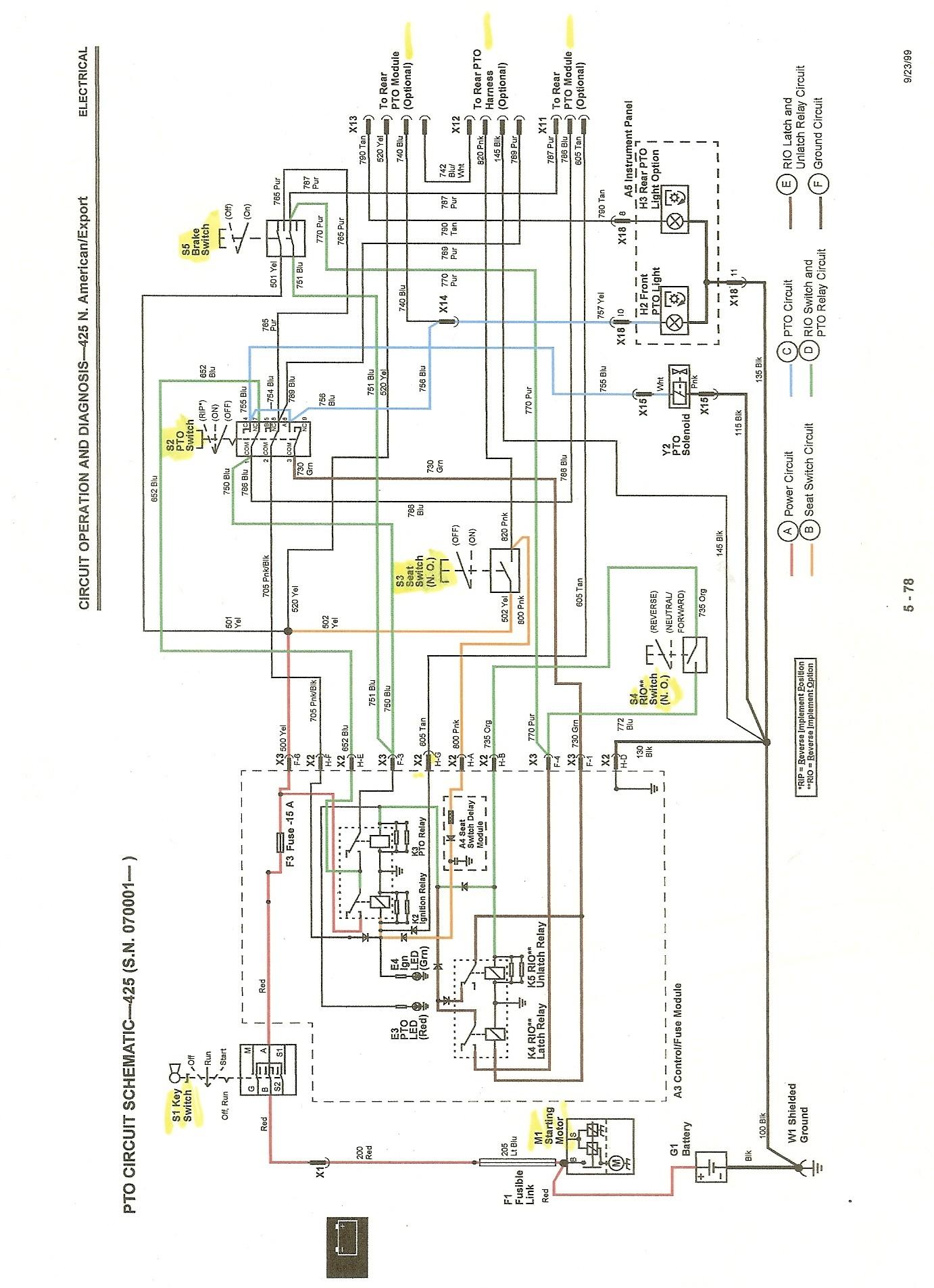 John Deere 345 Wiring Schematic 425 Ignition Motor Cranks when Key is Turned to Run Of John Deere 345 Wiring Schematic