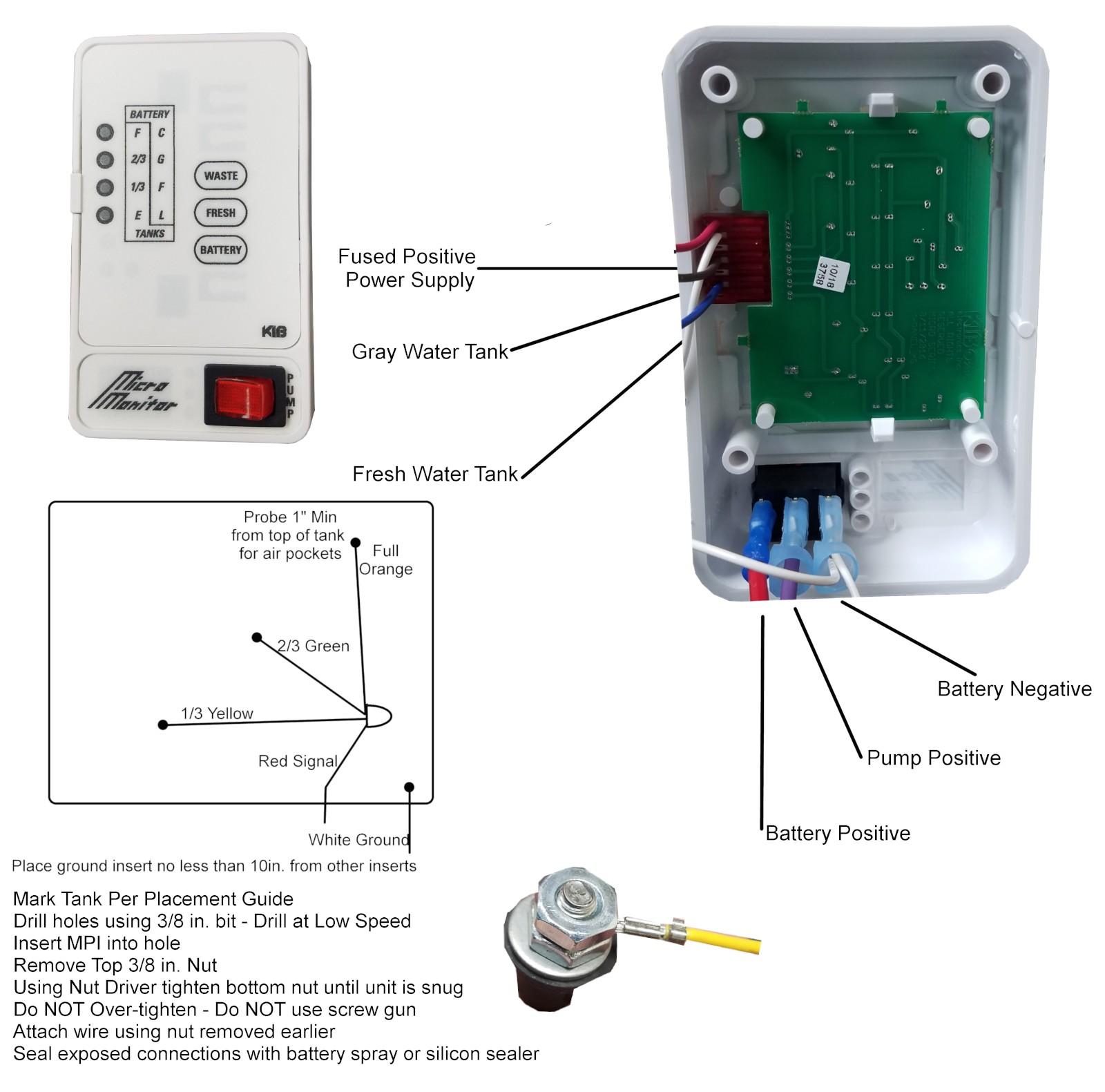 Kib Micro Monitor Manual Kib 2 Tank Monitor Panel 12 Volt White Face Plate Of Kib Micro Monitor Manual