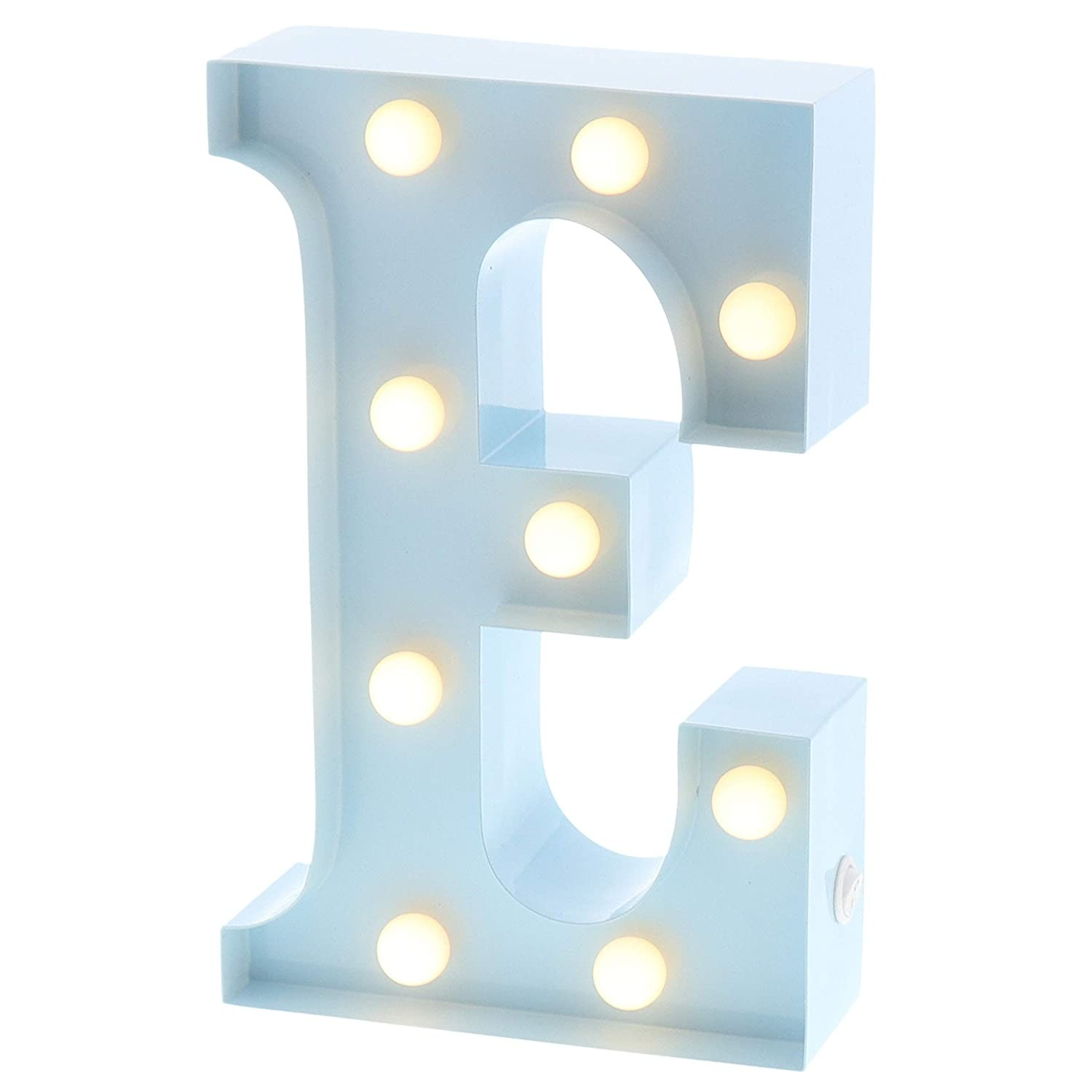 "Marquee Letters that are Lite with Timers Barnyard Designs Metal Marquee Letter E Light Up Wall Initial Nursery Letter Home and event Decoration 9"" Baby Blue Of Marquee Letters that are Lite with Timers"