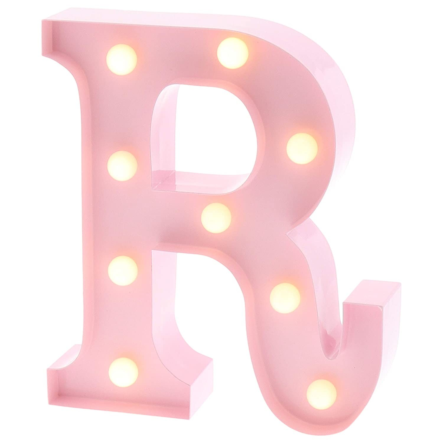 "Marquee Letters that are Lite with Timers Barnyard Designs Metal Marquee Letter R Light Up Wall Initial Nursery Letter Home and event Decoration 9"" Baby Pink Of Marquee Letters that are Lite with Timers"