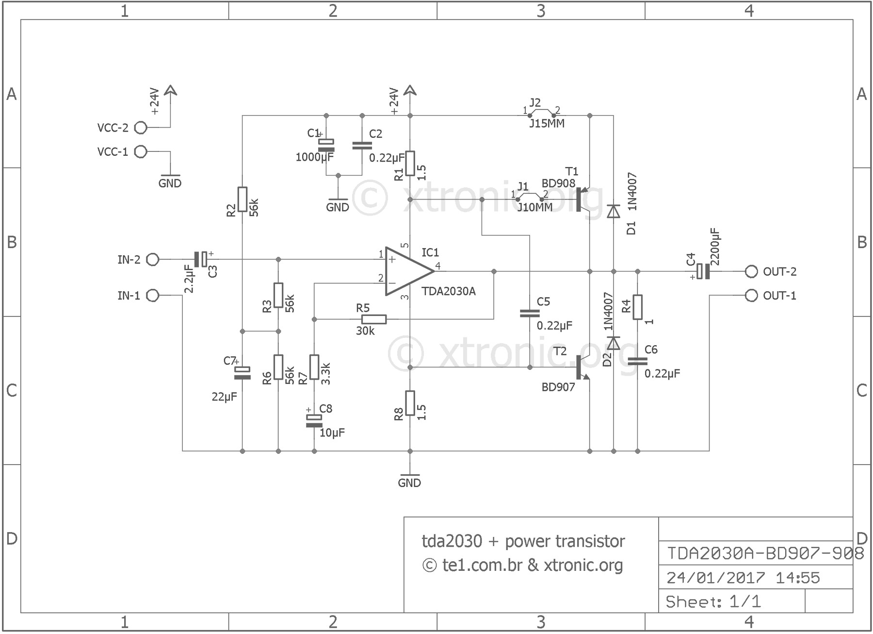Pin Layout Tda 2040 Ev 7063] Hifi Audio Amplifier Circuit Based Tda2050 Audio Of Pin Layout Tda 2040