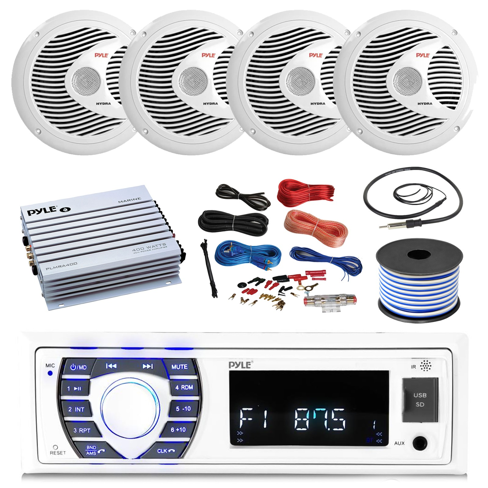 Pyle Hydra Amplifier Wiring 16 25 Bay Boat Pyle Bluetooth Marine Stereo Receiver 4 X Pyle 150w 6 5 Marine Speakers White Pyle 4 Channel Waterproof Amplifier Pyle Amp Of Pyle Hydra Amplifier Wiring