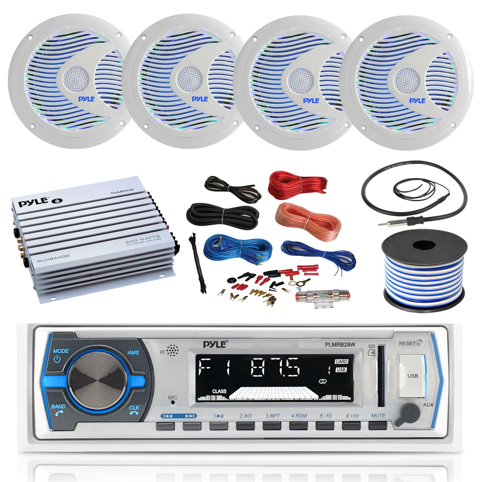 Pyle Hydra Amplifier Wiring 16 25 Bay Boat Pyle Bluetooth Marine Usb Mp3 Stereo Receiver 4 X Pyle 6 5 Waterproof White Speakers W Led Pyle 4 Channel Boat Amplifier Amp Of Pyle Hydra Amplifier Wiring