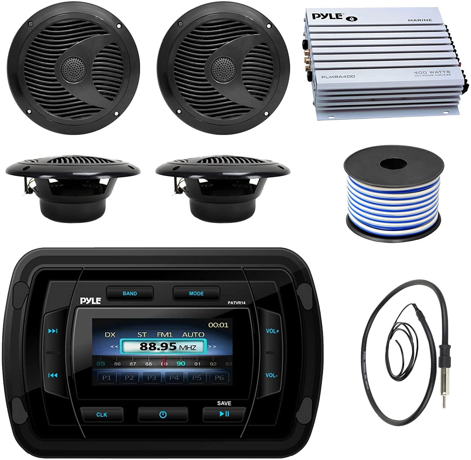 Pyle Hydra Amplifier Wiring Pyle Patvr14 Mp3 Mp5 Bluetooth Marine Boat Yacht Stereo Receiver Bundle Bo with 4x Black 6 1 2 Dual Cone Waterproof Stereo Speaker Enrock Radio Of Pyle Hydra Amplifier Wiring