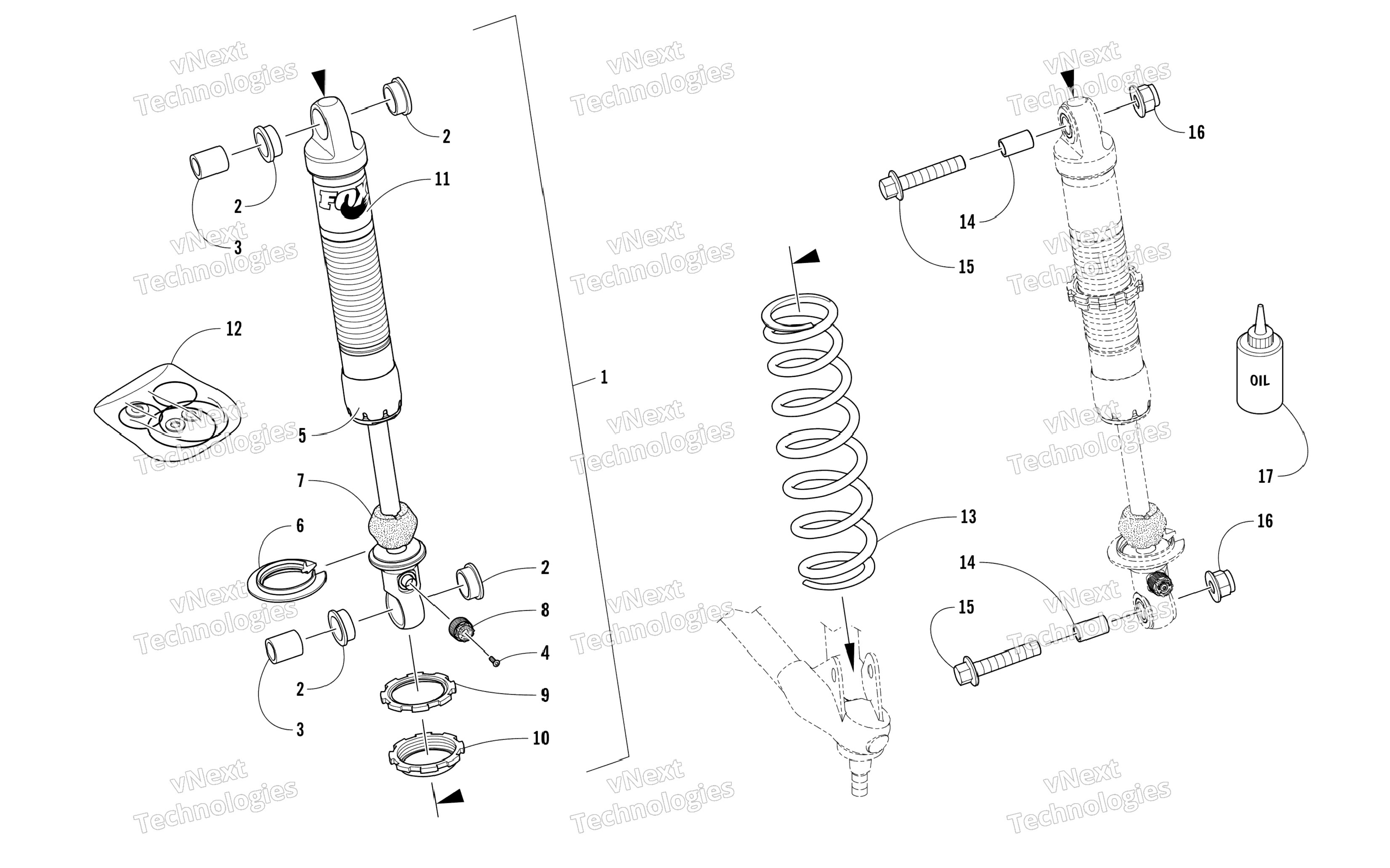 Shock Absorbers Diagram Front Suspension Shock Absorber assembly дРя Arctic Cat Zr Of Shock Absorbers Diagram