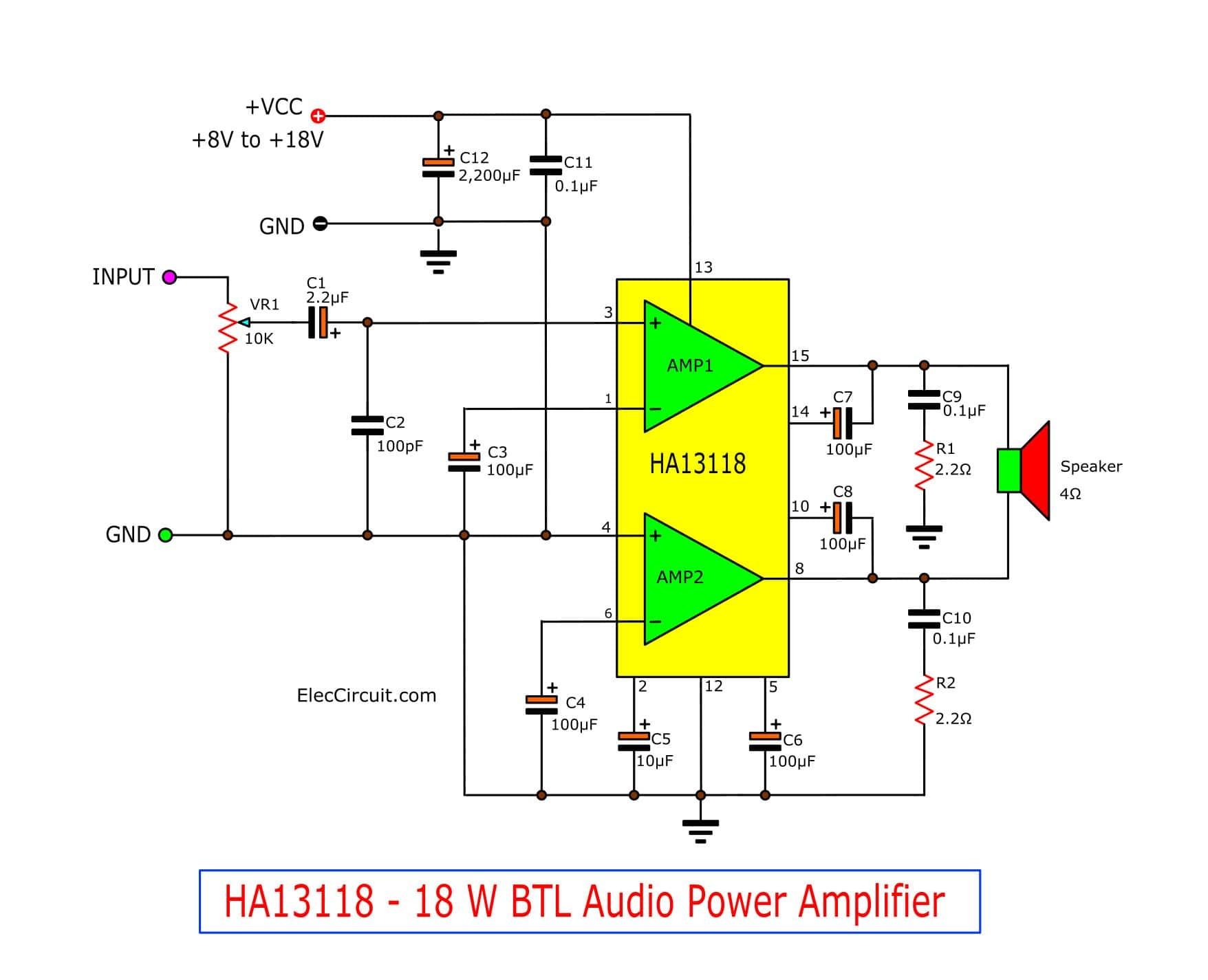 Tda 2040 25w Audio Amp Schematic Rk 9884] 18w Audio Amplifier Circuit Diagram Schematic Wiring Of Tda 2040 25w Audio Amp Schematic