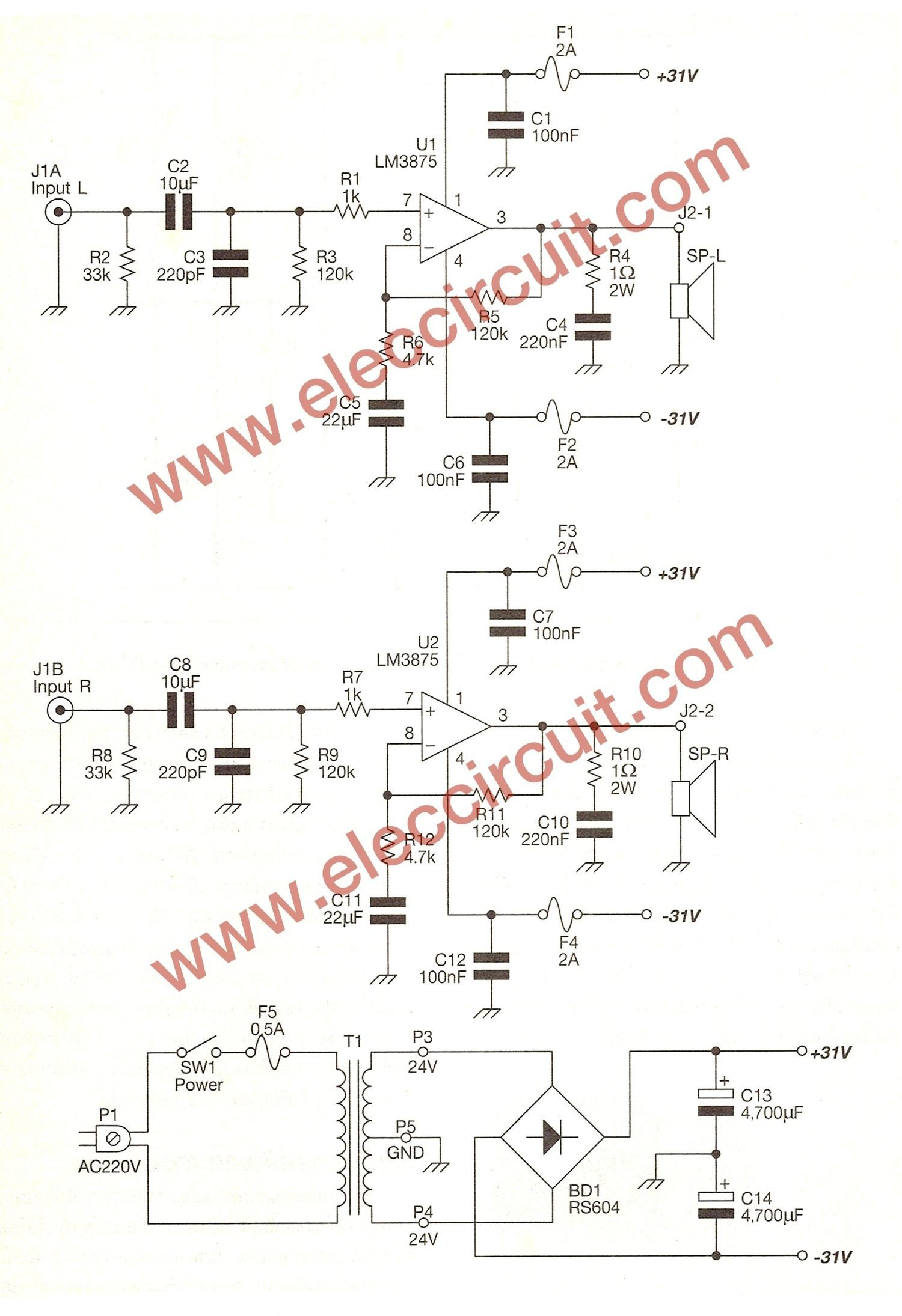 Tda 2040 40w Amp Md 6841] 40w Amplifier Circuit Schematic Of Tda 2040 40w Amp