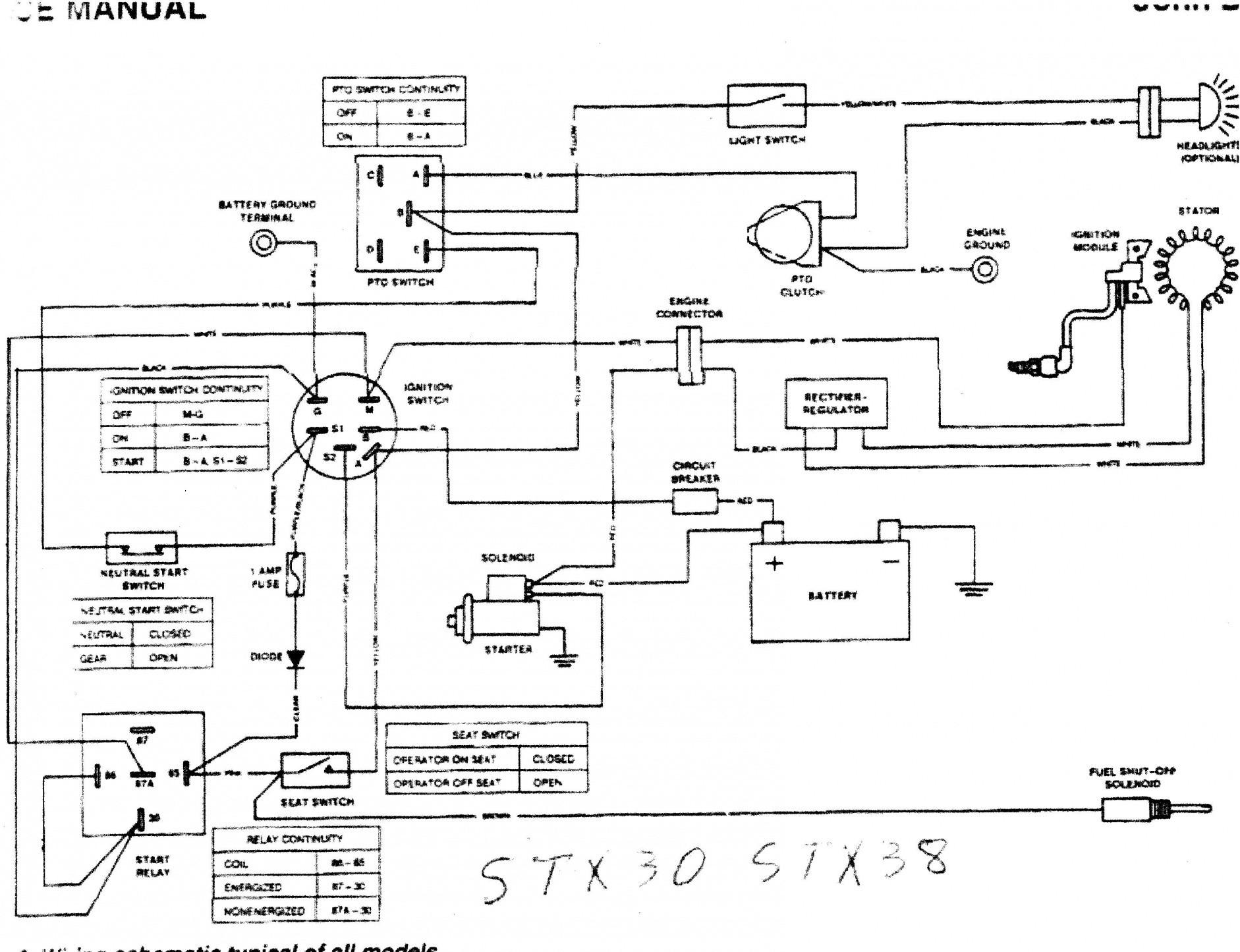 Wireing Diagram for John Deere 345 John Deere Stx38 Problem Need Help Of Wireing Diagram for John Deere 345