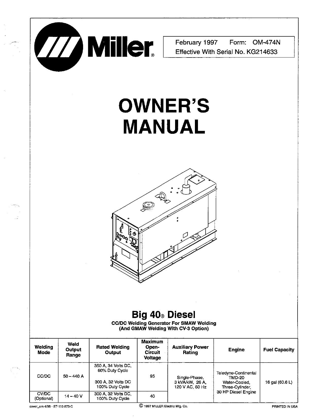 2 Cylinder Deere Wiring Miller Big 40 Diesel User Manual Of 2 Cylinder Deere Wiring