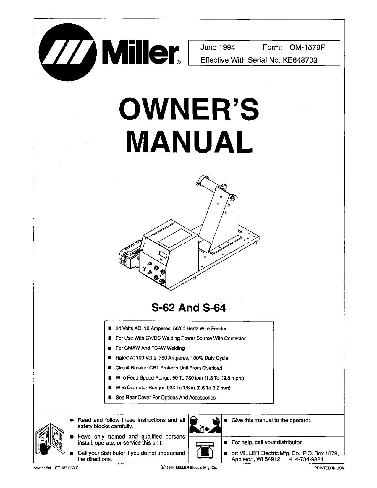 2 Cylinder Deere Wiring Miller S 62 Wire Feeder User Manual Of 2 Cylinder Deere Wiring