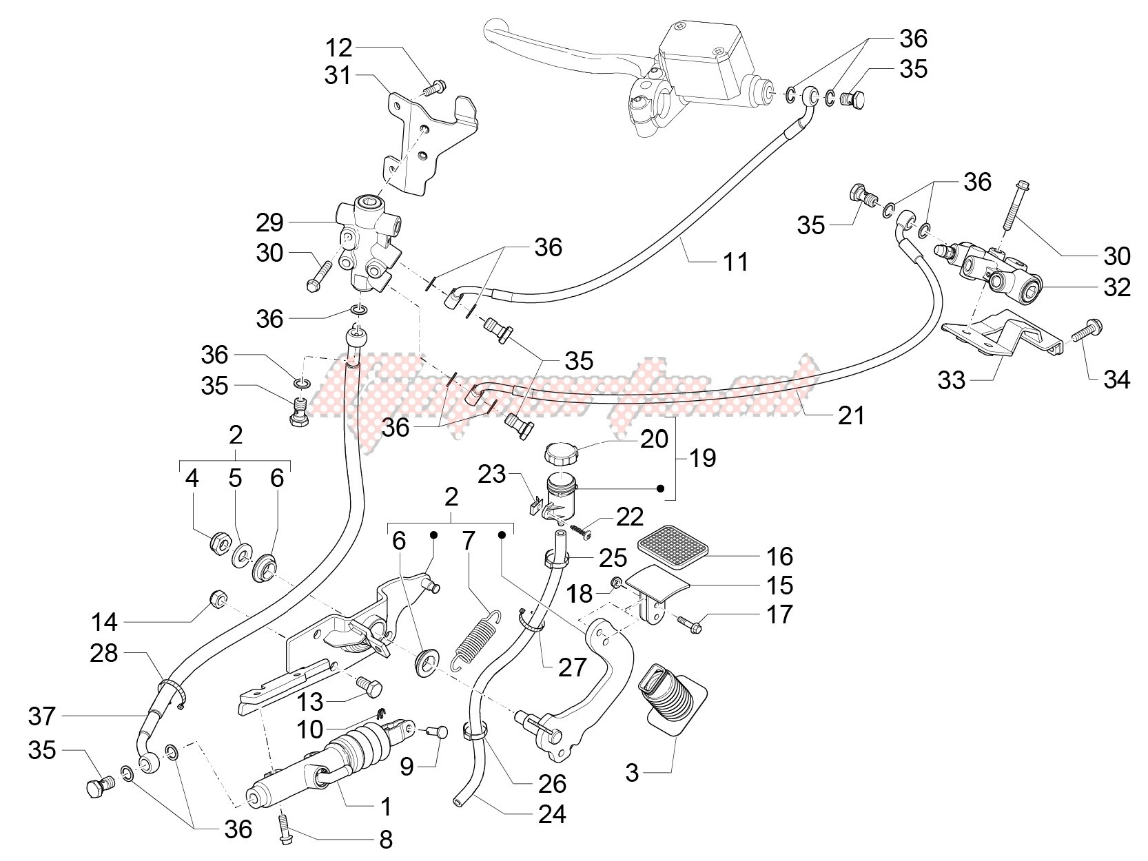 Abs System Diagrm Oem Control Pedals Levers Piaggio [scooter] Mp3 300 Lt Of Abs System Diagrm