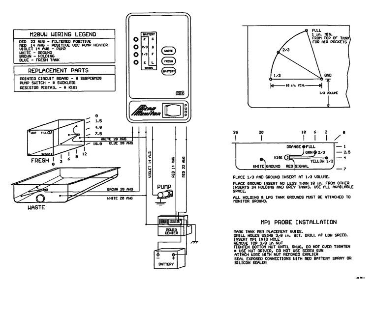 Kib M2207 Wire Schematic Kib 2 Tank Monitor Panel 12 Volt White Face Plate Class A Customs Elkhart In Of Kib M2207 Wire Schematic