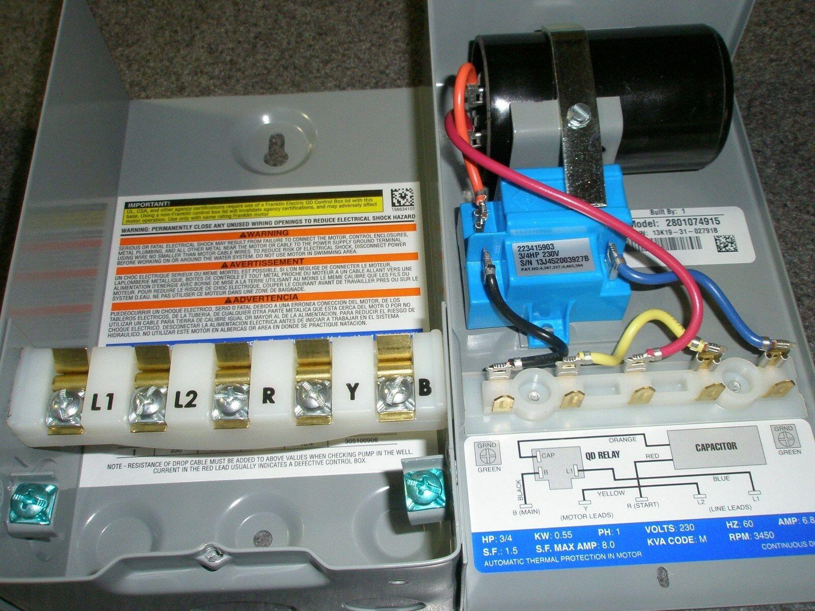 Qd Control Box Wiring 3 4 Hp 230v Franklin Qd Control Box Submersible Water Pump New Of Qd Control Box Wiring