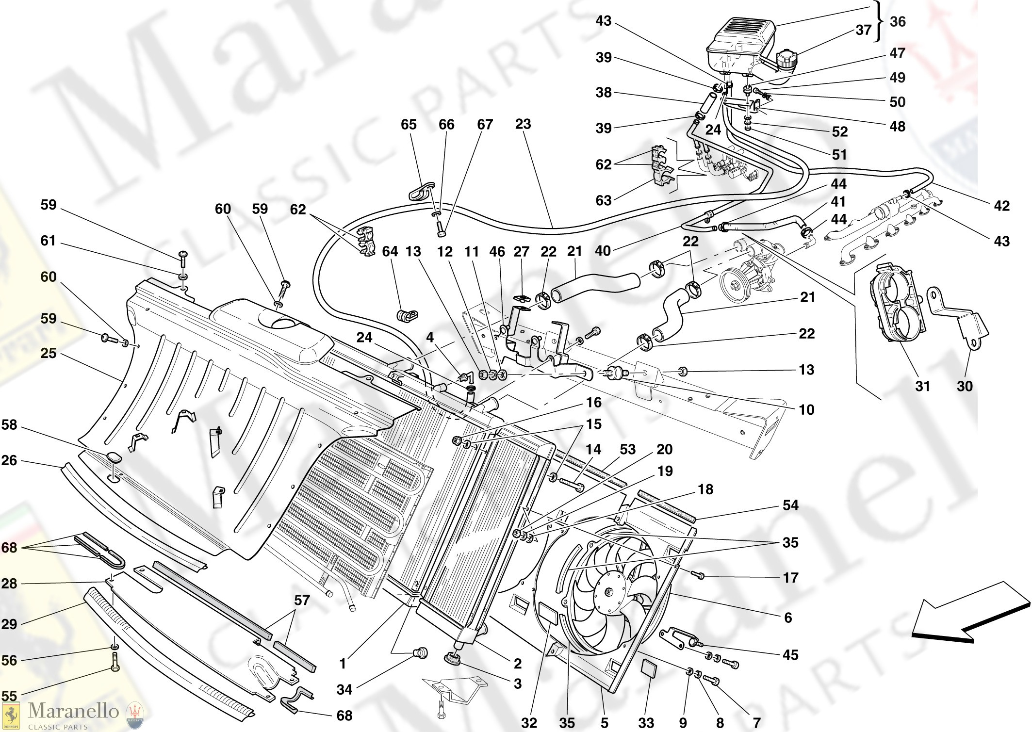 Radiator Parts Diagram 026 Cooling System Radiator and Header Tank Parts