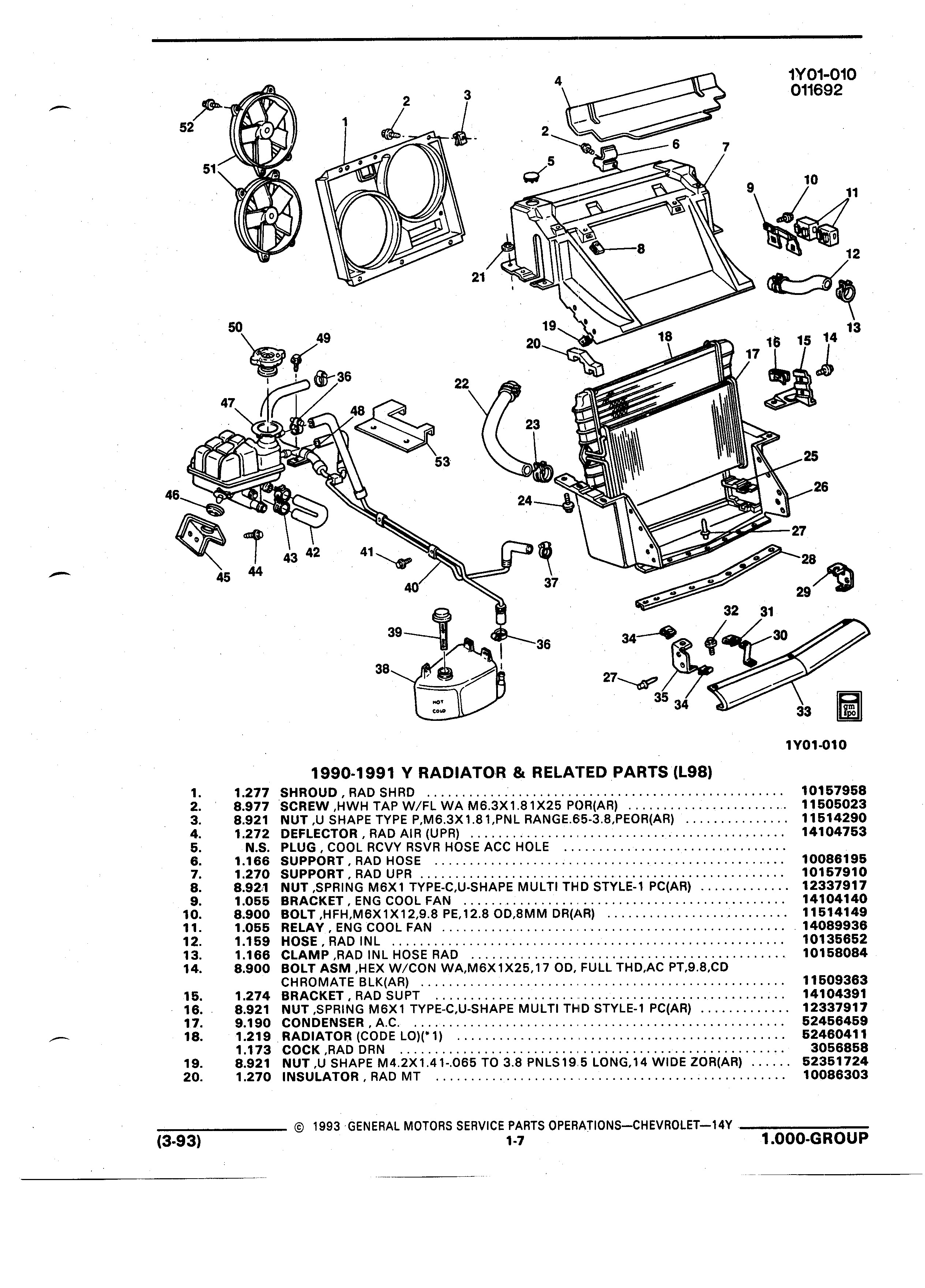 Radiator Parts Diagram Gmpartswiki Parts and Illustration Catalog 14y March 1993 Of Radiator Parts Diagram