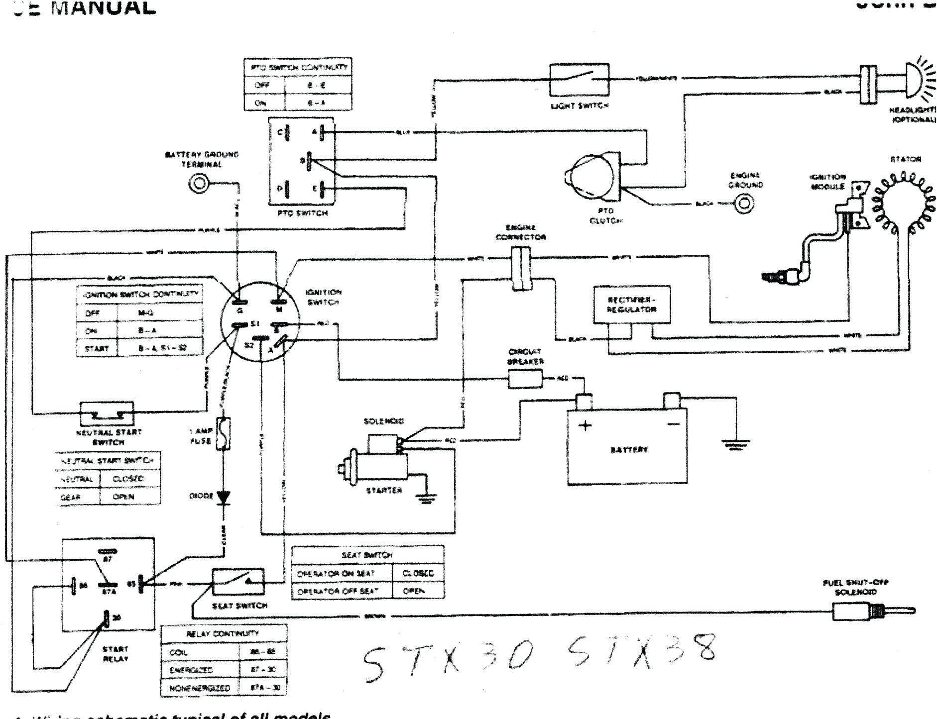 John Deere Electrical Schematic John Deere L110 Wiring Schematic Wiring Diagram