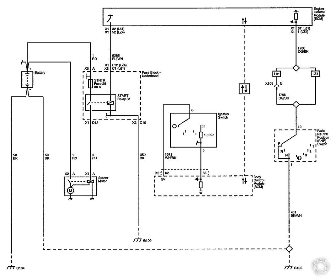 Starter Diagram for 2008 Chevy Malibu 2008 Chevrolet Malibu Starter Kill Wire
