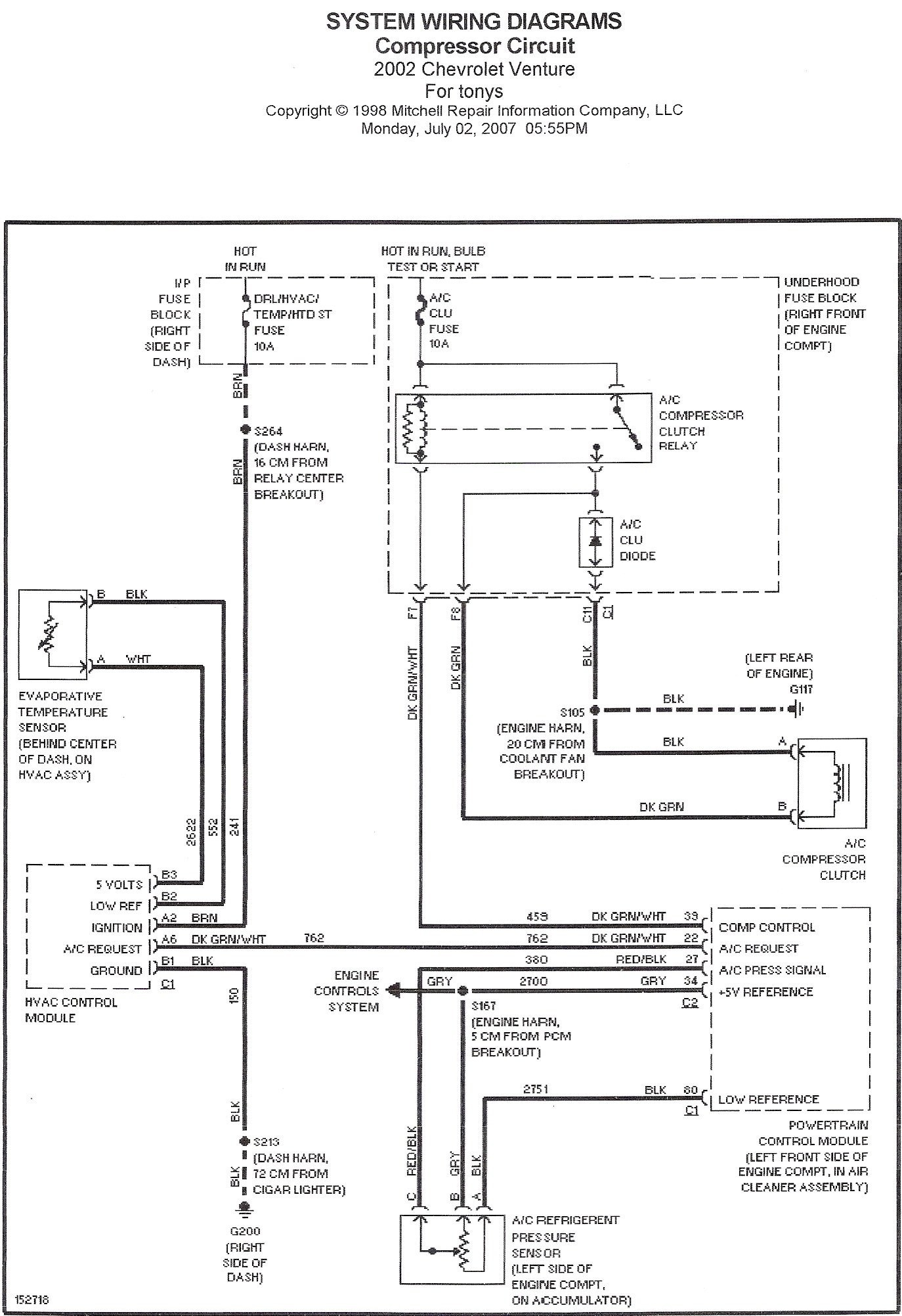 02 Tracker Wiring Diagrams No A C 2002 Chevy Venture Pressor Clutch Not Engaging Fuse Good Don T Know if Relay is Of 02 Tracker Wiring Diagrams