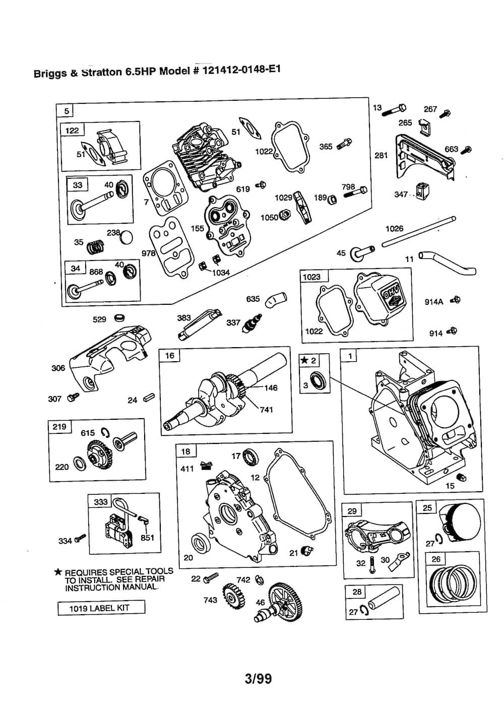 6.5 Briggs Stratton Carburetor Diagram Briggs & Stratton 6 5 Hp Engine Parts Model E1 Of 6.5 Briggs Stratton Carburetor Diagram
