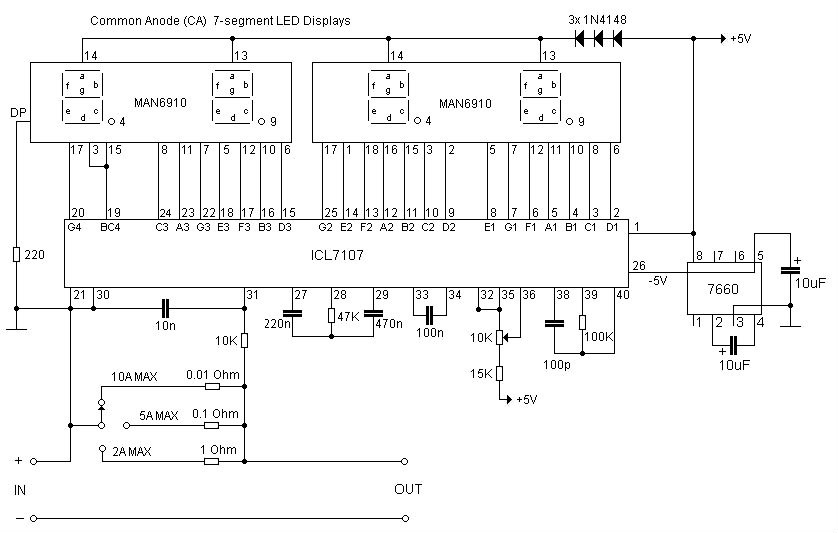 Ic 6110 Schema Simple Digital Led Ammeter Using Icl7107 Of Ic 6110 Schema
