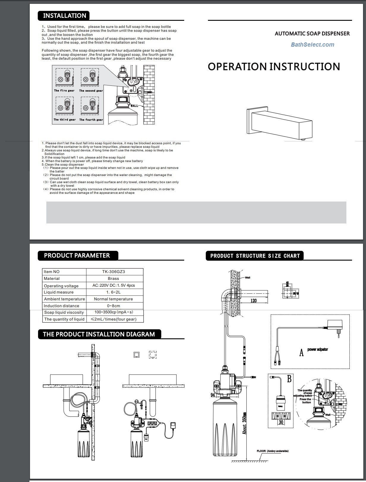 Kib M2401 Installation Manual Installation Instructions for Wall Mounted Bath Sensor Faucet Of Kib M2401 Installation Manual