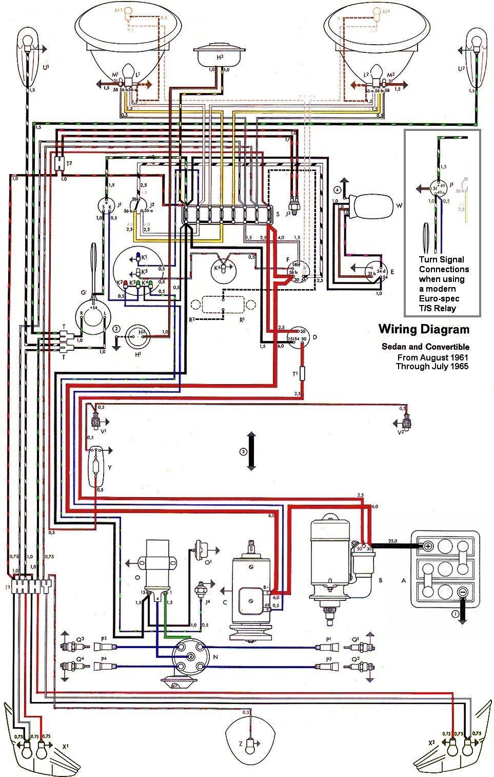 Beetle 1600 Wiring Diagram Wiring Diagram Vw Beetle Sedan and Convertible 1961-1965 Vw … Of Beetle 1600 Wiring Diagram