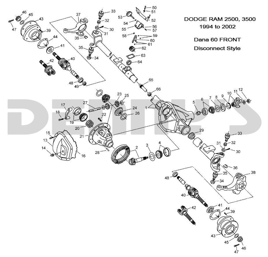 Dana 60 Front End Rear End Diagram Dodge Dana 60 Disconnect Front Axle Parts for 1994 to 2002 Dodge … Of Dana 60 Front End Rear End Diagram