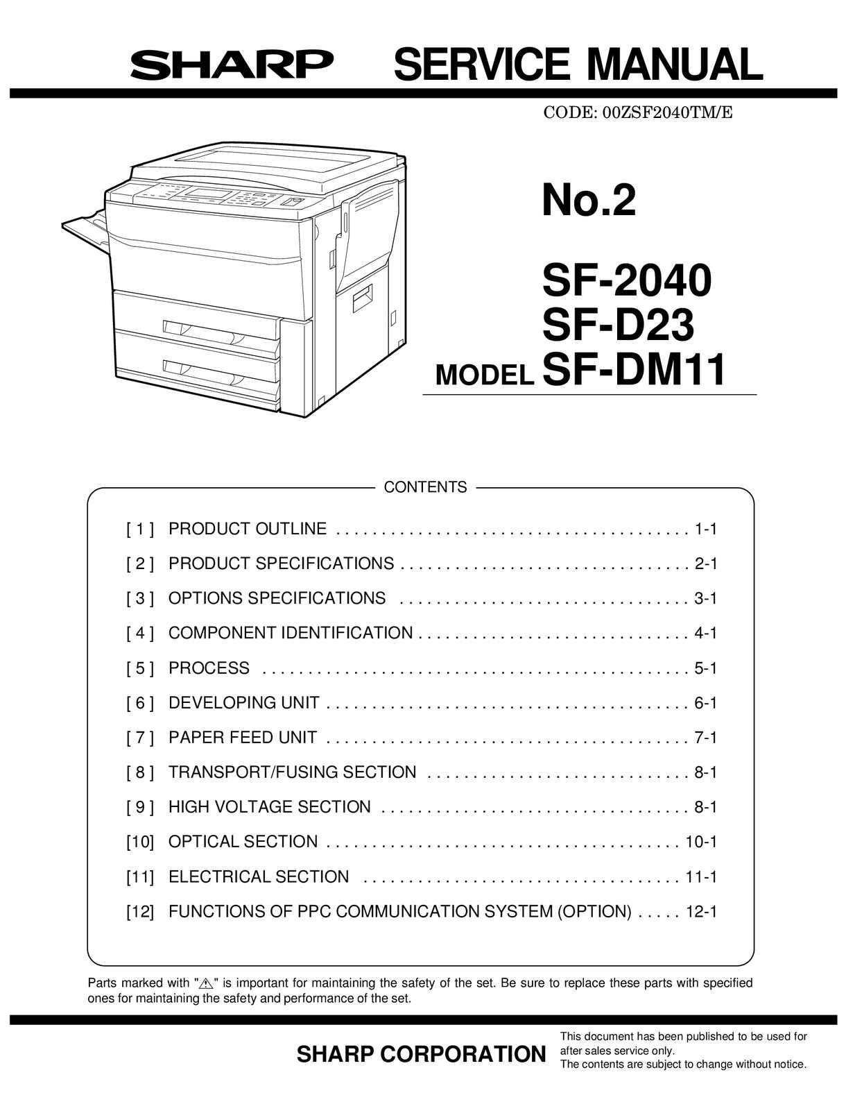 Pwb-f-aes-121 Calam̩o РService Manual Sharp Sf 2040 Sme Of Pwb-f-aes-121